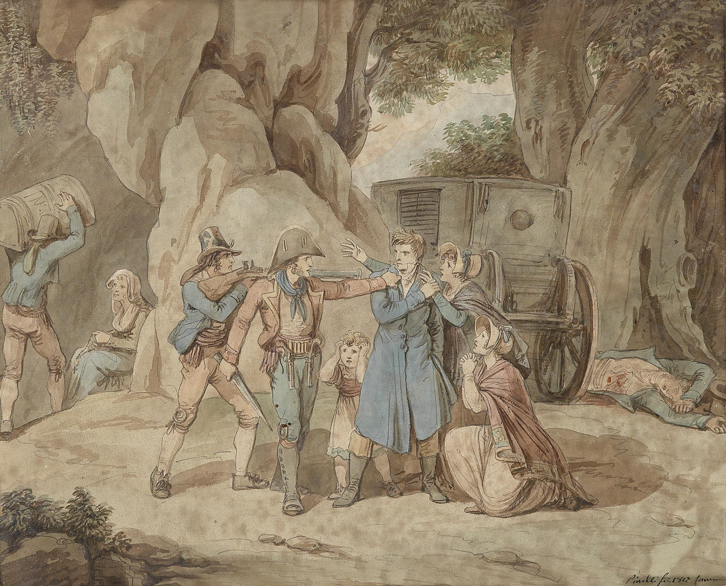 Viaggiatori-assaliti-da-briganto_dipinto-bartolomeo-pinelli